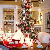 елка, орнамент, праздник, Рождество, сервировка, скатерть, стол, украшение